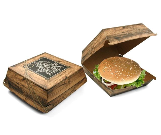 """Burgerbox Pappe /""""Enjoy your Meal/"""" braun groß 300 Stück bedruckt"""