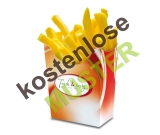 Musterartikel Pommes-Faltbox Fresh & Tasty bedruckt, 80x40x125 mm