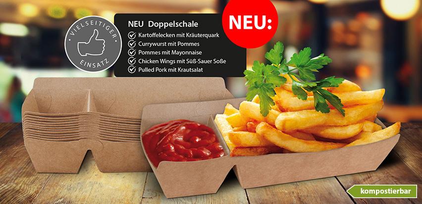 Doppelschale / Snackschale mit Dipfach